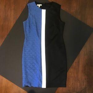 London Times sleeveless color block sheath dress